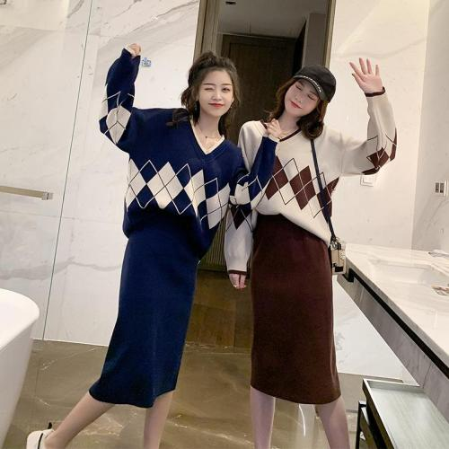 Women Outfits Geometry Pattern Sweater Jumpers Tracksuit Women Skirt Set Woman Autumn Winter Knit Pullover Skirt Suits Dr824