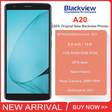 Original Blackview A20 Smartphone 1GB RAM 8GB ROM MTK6580M Quad Core Android GO 5.5inch 18:9 Screen 3G Dual Camera Mobile Phone