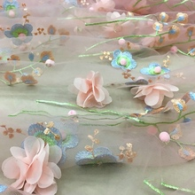 1meter New soft mesh three-dimensional embroidered lace fabric handmade DIY clothes dress skirt material