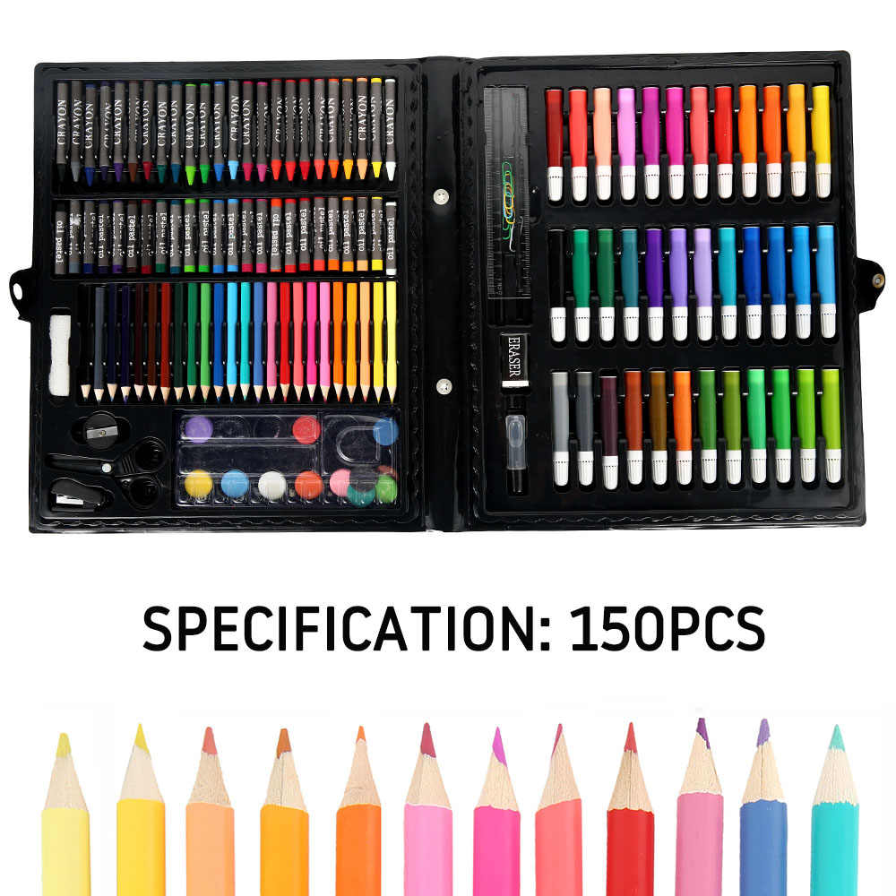 150pcs Art Set Water Color Pen Drawing Painting Crayon Set for Kids Gift Kit