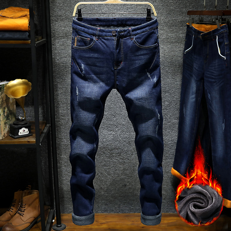 2019 CHOLYL Winter New Men's Casual Plus Velvet Thick Stretch Jeans Men's Waist Slim Straight Trousers 28-36