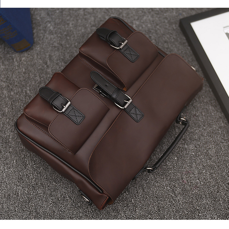 LISM Autumn Crazy Horse Skin European And American Luxury Men 39 s Portable Messenger Bag High Quality Bag Fashion Business Bags in Top Handle Bags from Luggage amp Bags