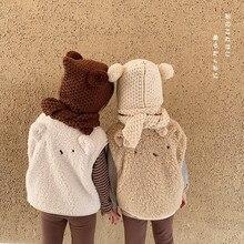 Осенне-зимние шерстяные жилеты с рисунком медведя для мальчиков и девочек Детские теплые плотные теплые жилеты От 0 до 6 лет