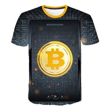Colorful Bitcoin man's T-shirt Cool fashion Colors Tee Shirt 3D Print O-neck short-sleeved men's clothing oversized t-shirt 1