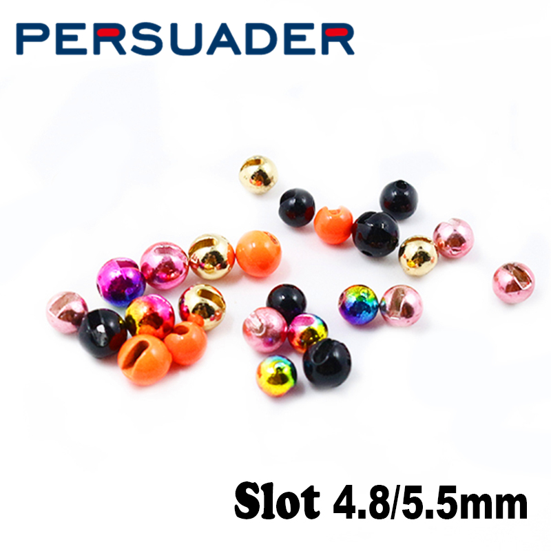Persuader 5optional Colors 4.8mm/5.5mm Slotted Tungsten Beads Weighting Jig Hook Big Size Fly Tying Beads High Density Tungsten