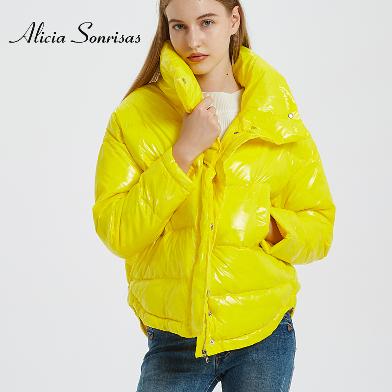 Glossy Winter Down Cotton Padded Jacket For Women Thick Bright Black Short Shiny Jacket Yellow Red Cotton Parkas AS809