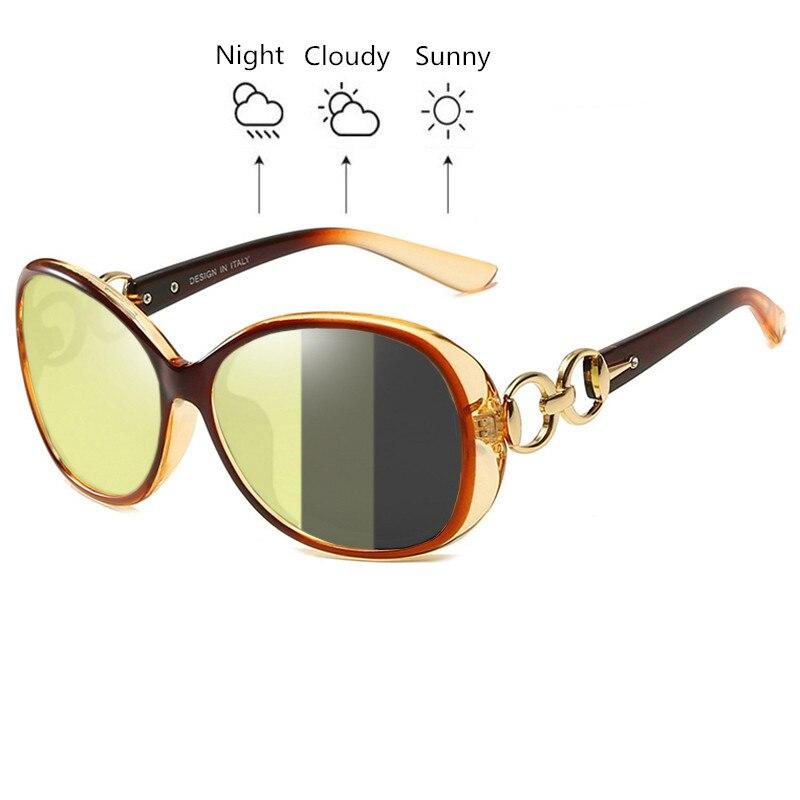 SOPRETTY Photochromic Women Polarized Night Vision Driving Glasses , TAC Oval Oversize Sunglasses Yellow Goggles UV400 S181