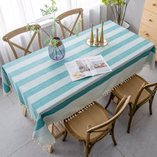 New Stripe Two-tone Decorative Linen Tablecloth With Tassel Waterproof Oilproof Thick Rectangular Wedding Dining Tea Table Cloth tassel decor two tone shopper bag