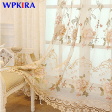 European Luxury Window Curtain for Living Room Embroidered Tulle Velvet Blackout Curtain Gold Lace Drapes Customize Cortinas D3