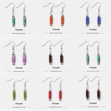 Boho Ethnic square Stone Bead Drop  Earrings for Women Girl Vintage Handmade Metal Swirl Shape Drop Earring Pendientes diy gifts