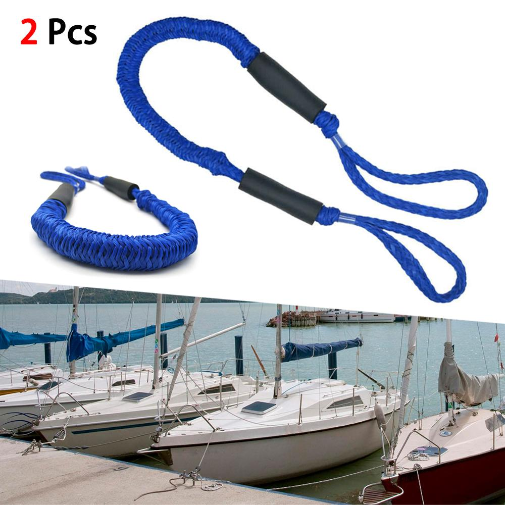 3.5-5.5 Feet Heavy Duty Nylon Marine Mooring Rope Boat Bungee Dock Line Anchor Rope Docking For Camping Hiking Accessories 2Pcs