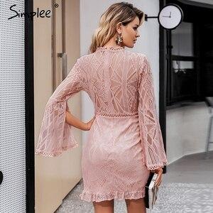Image 4 - Simplee Sexy Transparante Kanten Jurk Hoge Taille Lange Mouwen Schede Midi Jurk Elegante Kantoor Dame Slim Bloemen Korte Party Dress