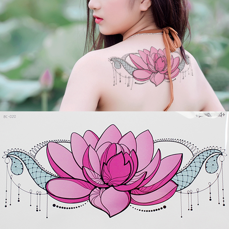 Mandala Temporary Tattoos Waterproof Lace Tattoo Jewelry Stickers Lotus Flower Sexy Back Body Tattoo Summer Girls Bikini Decal