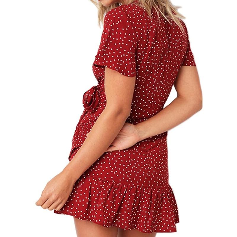 Printed Women Dresses Summer 2021 Elegant Short Sleeve Dress Ruffles Dresses Women Casual V-neck Beautiful Dress for Holiday 5