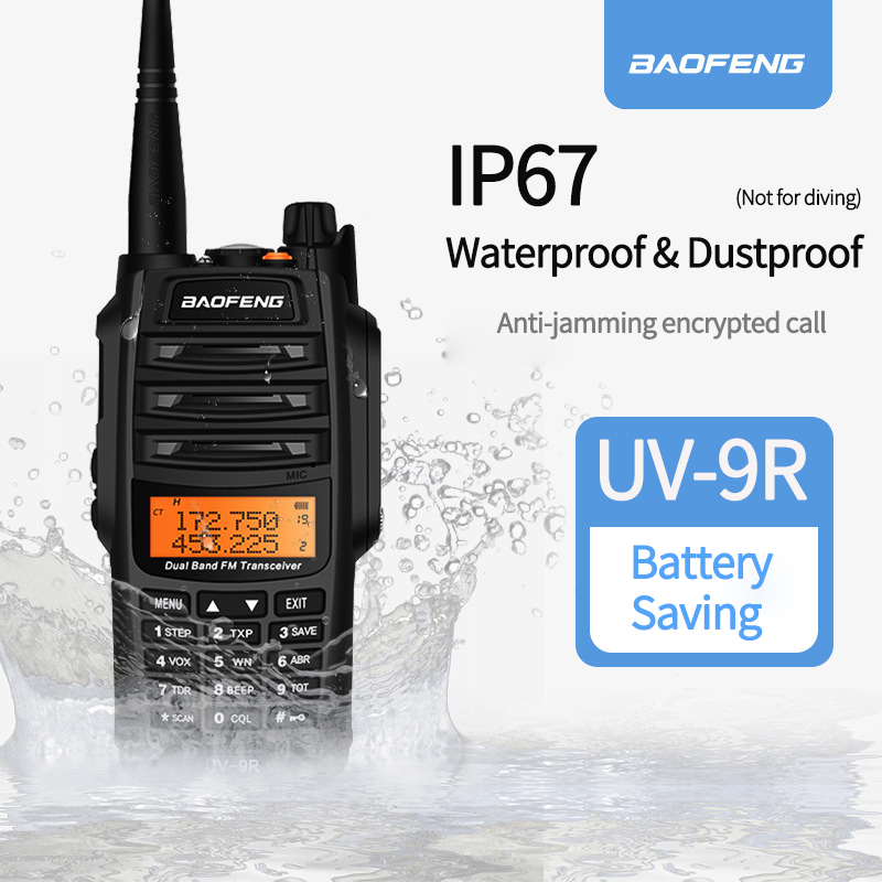 2020 UV-9R Baofeng Walkie talkie IP67 Waterproof & Dustproof ham radio Vhf Uhf Dual Band For UTV ATV Hunting two way radio