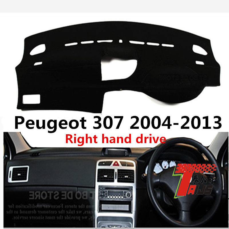 Taijs right hand drive car dashboard cover for <font><b>Peugeot</b></font> <font><b>307</b></font> 2004-2013 polyester material hot selling <font><b>red</b></font> black blue edges image