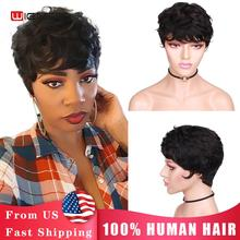 Wignee Short Pixie Cut Curly Human Hair Wigs With Free Bangs For Women Remy Brazililian Jerry Curl Glueless Natural Black Wig