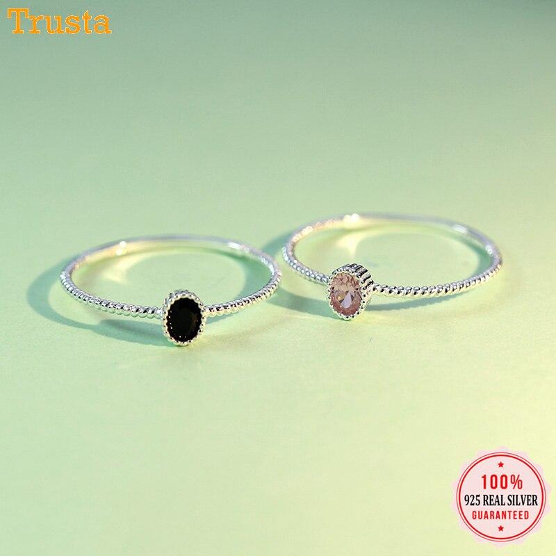 Trustdavis Genuine 925 Sterling Silver Dazzling Black Pink CZ Rings Size 5 6 7 8 Wonderful For Women Girls Teen Lady's Gift DT67
