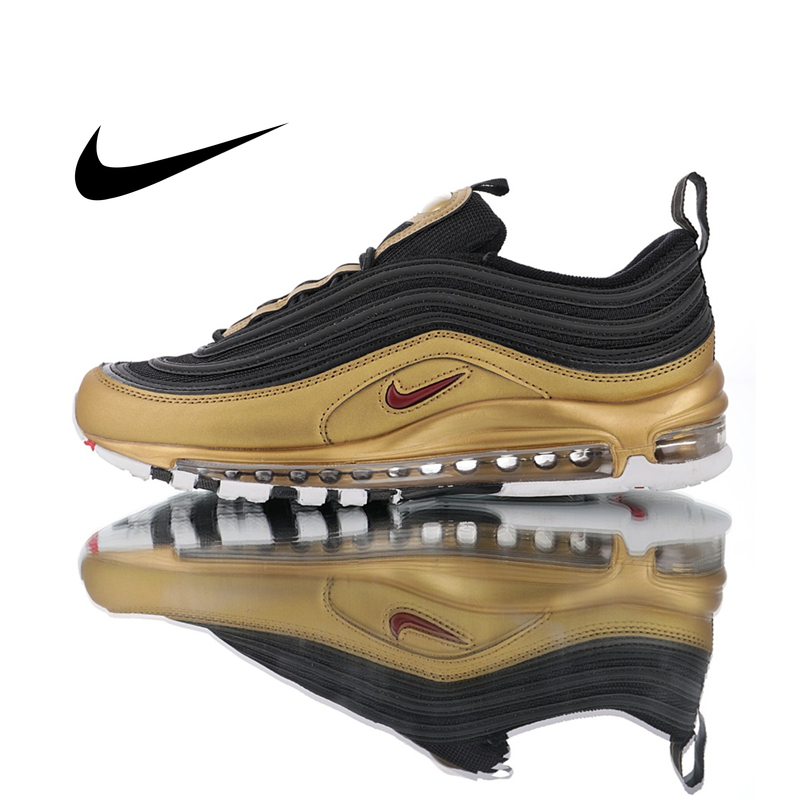 Original Nike Air Max 97 QS Men's Running Shoes Outdoor Sneakers Black Gold Athletics Designer Footwear Good Quality AT5458-002