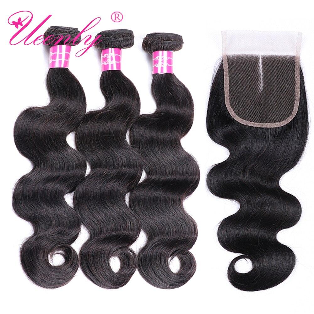 Бразильские волосы UEENLY, 3 пучка с застежкой, человеческие волосы 4x4 5x5 6x6, волнистые волосы, пучки с застежкой, волосы без повреждений