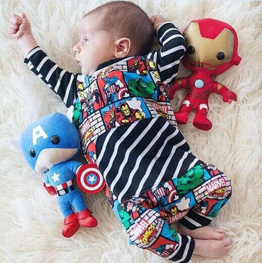 Infant Newborn Baby Kid Boy Outfits Superhero Romper Jumpsuit 0-24month Bebe Cartoon Marvel Comics Print Romper Hot