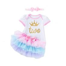 Кружевное платье принцессы для маленьких девочек, детские платья-2nd на день рождения вечерние платье для детей возрастом 2 года для новорожд...