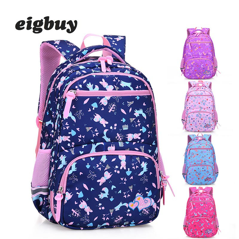 Cute Floral Printing Backpack Children School Bags For Boys Girls Princess Waterproof Child
