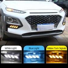 Araba yanıp sönen 1 çift LED DRL Hyundai Encino Kona 2018 2019 gündüz farı sarı dönüş sinyal lambası gece mavi