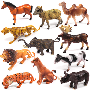 DIY Wild Jungle Zoo Animal Models Plasti Action Manga Figures Dimensions Collection Doll Educational Children's Toys Kids Gift