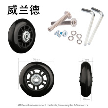 Luggage suitcase replacement wheels 70mm*27mm   Toolbox replacement luggage universal casters    damping   mute colored  wheels