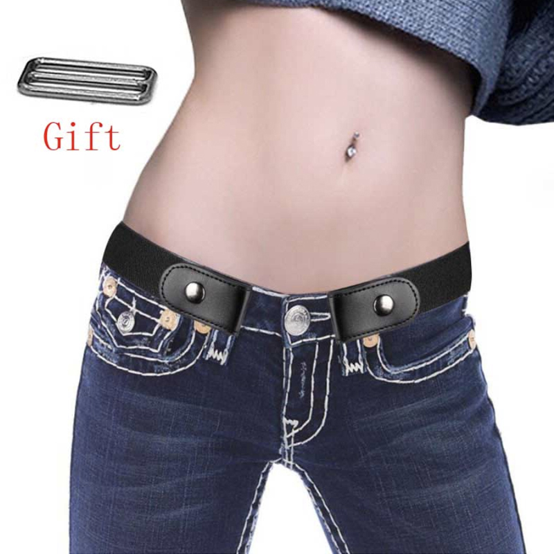 Easy Belt Without Buckle Hidden Invisible Secret Belts For Women Men Jeans Leather Buckle Free Elastic Stretch Black Kids