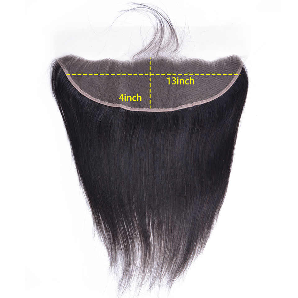 """OYM HAIR Straight Hair 8""""-26"""" Middle Ratio Non-Remy Natural Color Malaysian Human Hair 3 Bundles With Frontal Closure"""