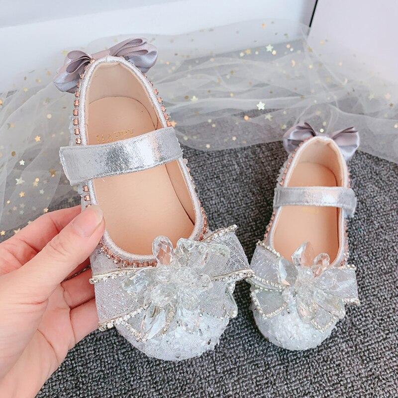 YIHONGMEIQI  2020 new girl's princess shoes high heels glittering crystal girl's party shoes