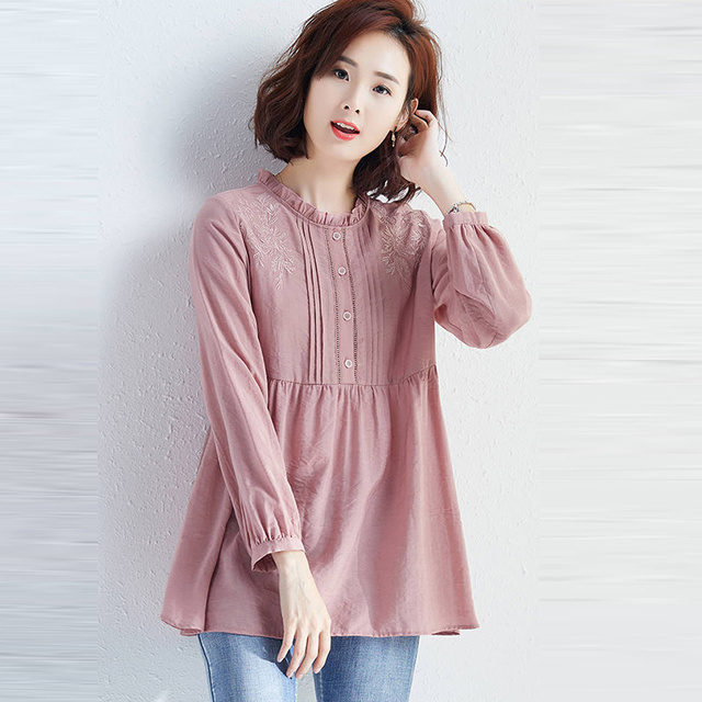 100% Cotton Women Casual Blouses Shirts New 2020 Spring Fashion Floral Embroidery Female Loose Tops Shirts Plus Size P296 3