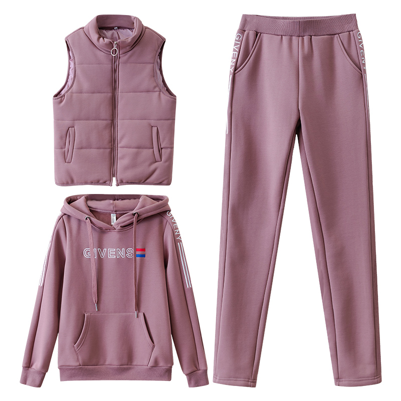 Women Suit Tracksuit Winter 3 Piece Set Hoodies+Vest+Pants Casual Suit Plus Velvet Warm Sporting Women's Suits Female Clothes
