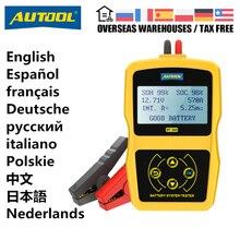 AUTOOL probador de batería de coche BT360, herramienta de diagnóstico multilingüe, prueba de arranque de carga, CCA, BCI, MCA, 12V