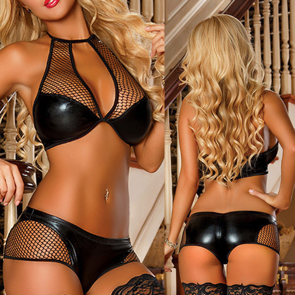 Women Faux Leather Strap Sexy  Lingerie Sleepwear Underwear Nightgown Intimo Donna Pizzo FJWL