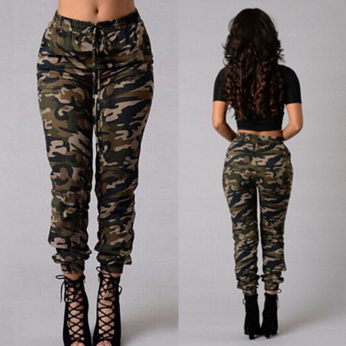 1pc Autumn Outdoor Camping Womens Camo Trousers Casual Hip-hop Military Army Combat Camouflage Pants S-2XL Plus size pants hot 13