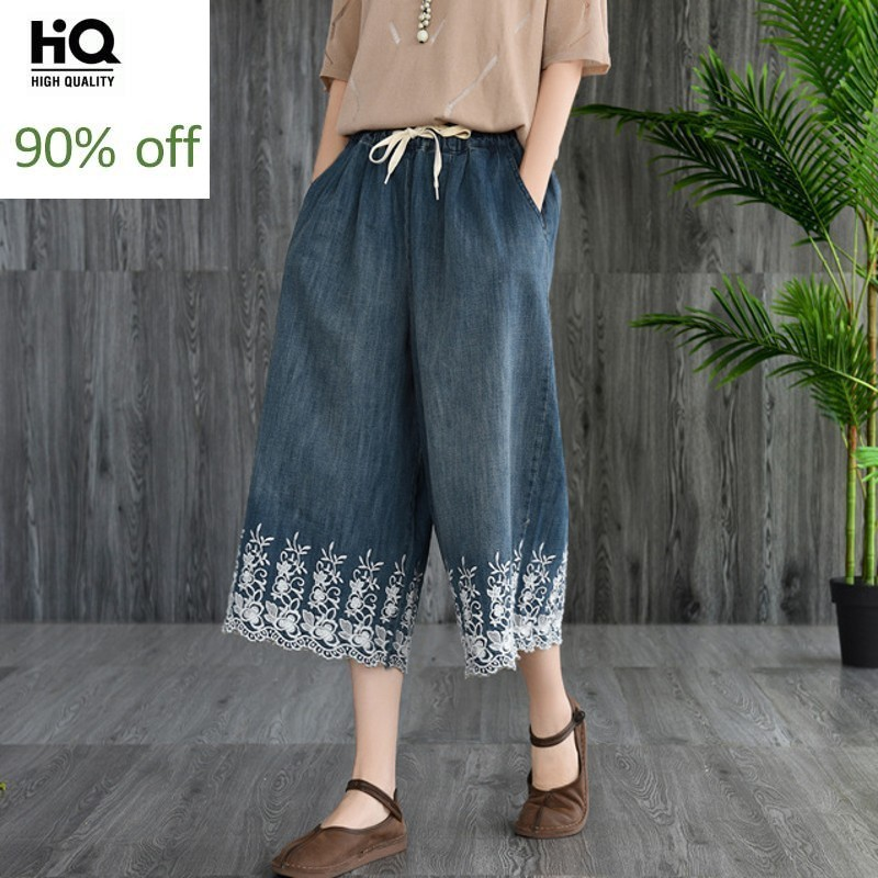New Brand Summer Vintage Floral Emboridery Calf Length Womens Denim Pants Drawstring Waist Loose Casual Female Wide Leg Pants
