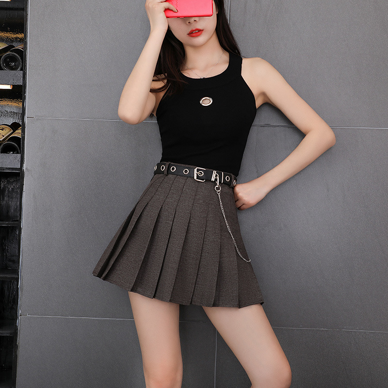 Summer 2020 Sexy Short Skirts Rosetic Aline Pleated Skirt High Waist Goth Women Gothic Punk Casual Black Blue Gray Plus Size 2XL