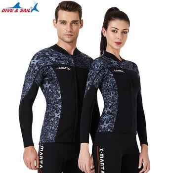 DIVE&SAIL 1.5MM Men Women Wetsuis Neorpene Outdoor Long Sleeve Diving Jackets Keep Warm Surfing Diving Printing Wet Suits Tops