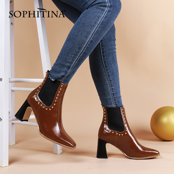 Women Shoes Casual Rivet Genuine Leather Handmade Chelsea Boots Slip-On Square Toe High Heel Lady Ankle Boots C859 Apparels Shoes