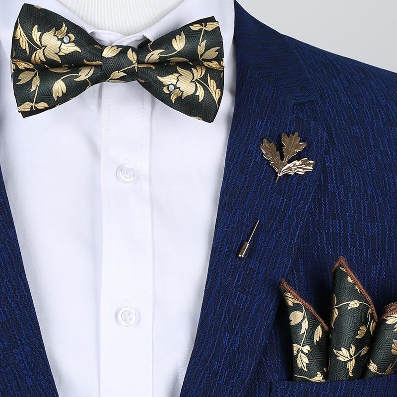 Luxury Gold Silk Ties For Men Fashion Wedding Party Bowtie Handkerchief Gravata Borboleta Set Mens Ties Pajaritas Para Hombre