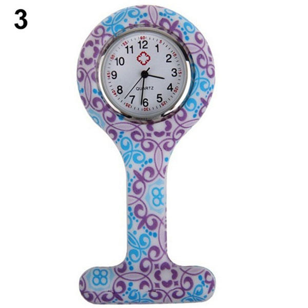 Newly Silicone Fashion Silicone Nurses Watch Brooch Tunic Fob Pocket Stainless Dial Watches  CLA88