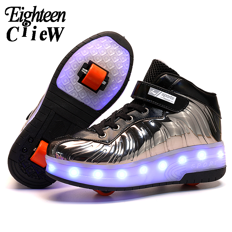 2020 New Shoes With Wheels Luminous Sneakers Kids Led Shoes With USB Charging Glowing Sneakers Led Light Roller Skate Shoes