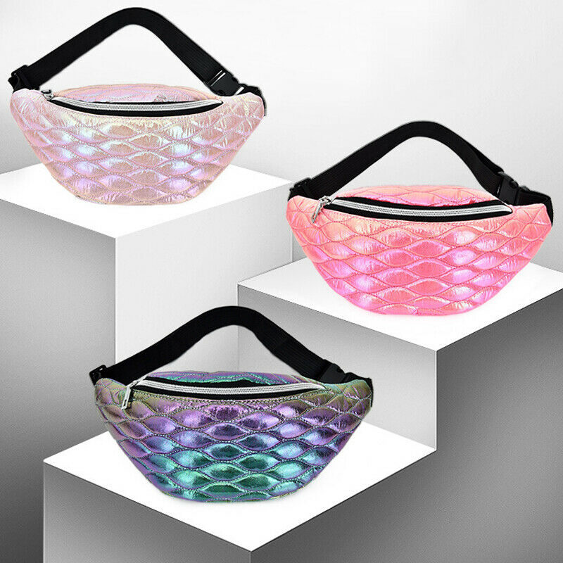 Women Girls Fashion Fanny Pack Shiny Leather Pouch Chest Bag Adjustable Belt Waist Bum Bag Phone Travel Sports Purse