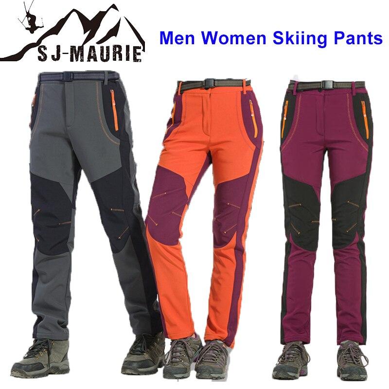 New Men Women Skiing Pants Winter Outdoor Couple Ski Pants Snowboard Skate Snow Pants Warm Ski Pants Fleece Climbing Trousers