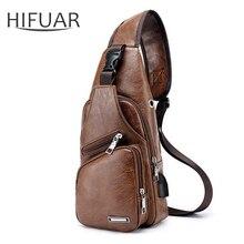 Мужские дорожные нагрудные сумки, поясные сумки, мужская кожаная сумка через плечо с usb зарядкой для наушников, диагональная посылка, новинка