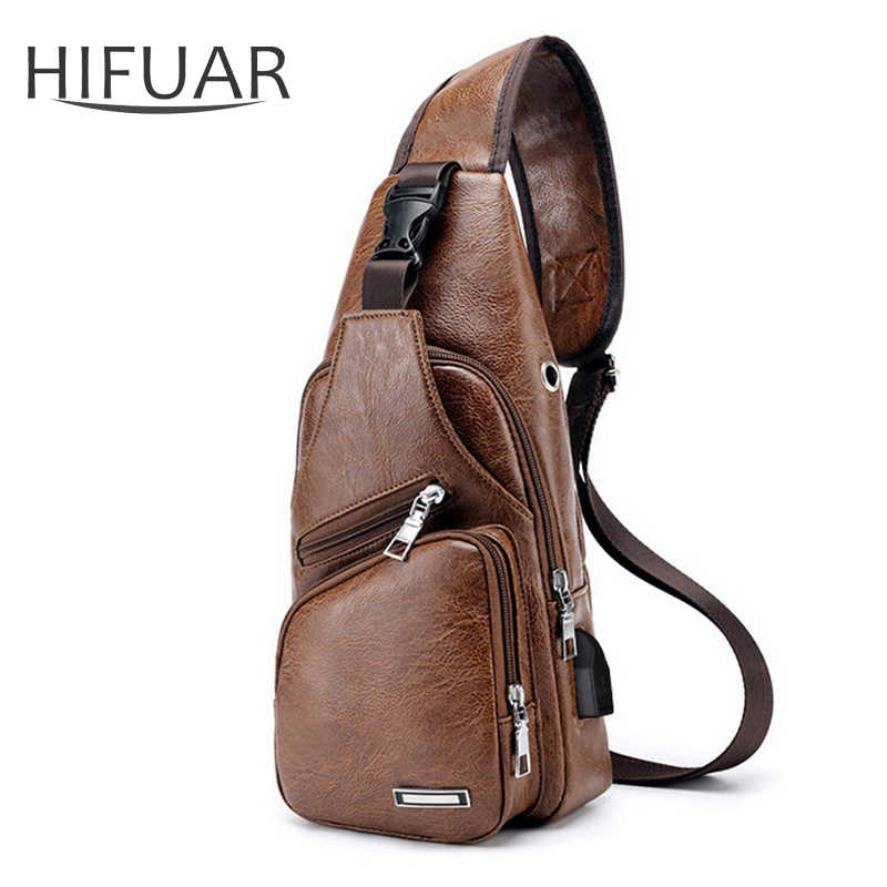 Men's Crossbody Chest Bags Waist Bags Men's USB Charging Headphone Plug Leather Shoulder Bag Diagonal Package New 2019