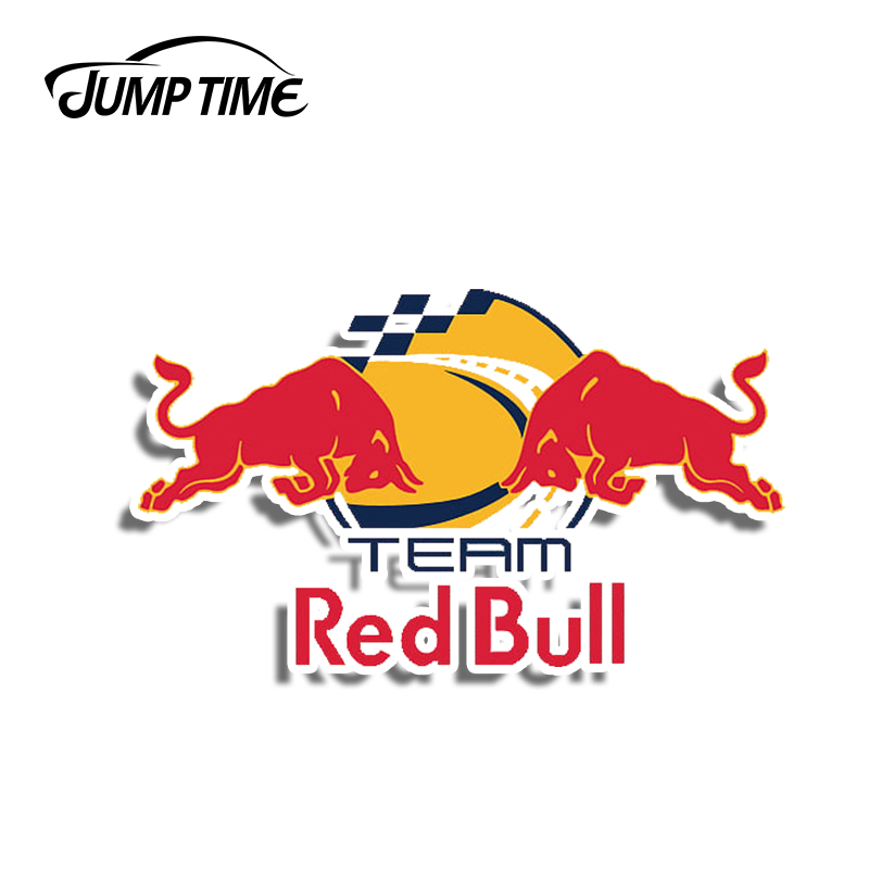Jump Time 13cm X 9cm Car Stickers Waterproof For Red Of Bull Team Vinyl Waterproof Racing RV VAN Fine Decal 3D Car Accessories